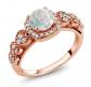 Gem Stone King 18K Rose Gold White Opal Ring