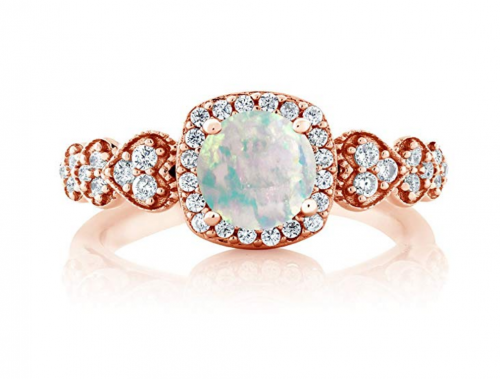 Gem Stone King 18K Rose Gold White Opal Ring Frontal View