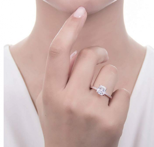 BERRICLE Rose Gold Engagement Ring on Hand