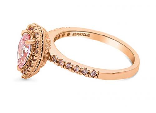 BERRICLE Pink Swarovski Engagement Ring Side View