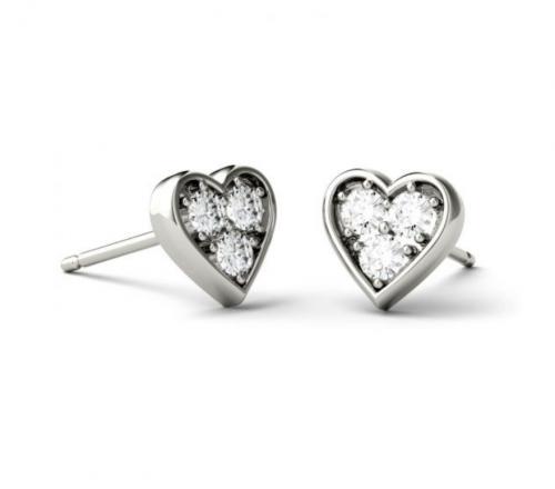 Charles & Colvard Heart Shaped Stud Earrings 2