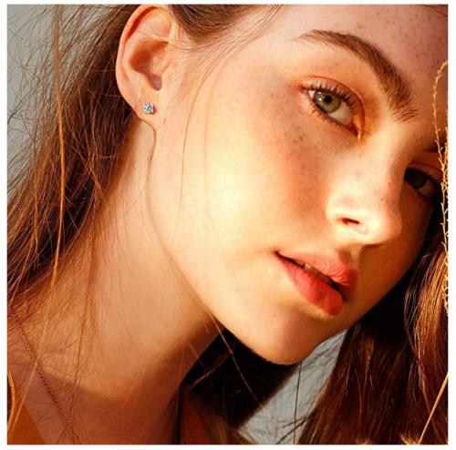 FANCIME Moissanite Stud Earrings on Model