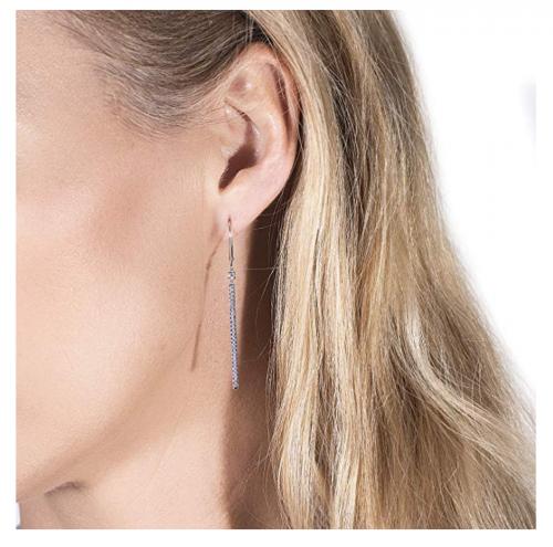 Charles & Colvard Moissanite Bar Earrings on Model