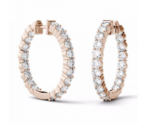 Charles & Colvard Moissanite Hoop Earrings Profile
