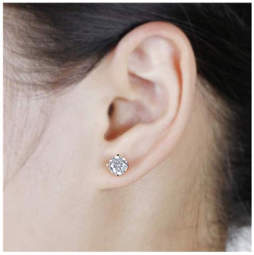 DovEggs Heart Arrows Moissanite Earrings on Model