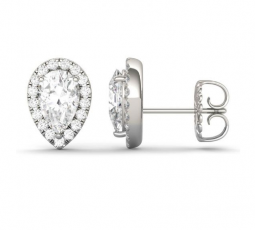 Charles & Colvard Pear Halo Earrings 2