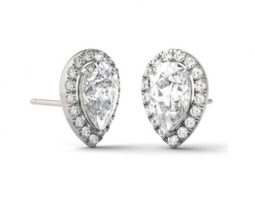 Charles & Colvard Pear Halo Earrings