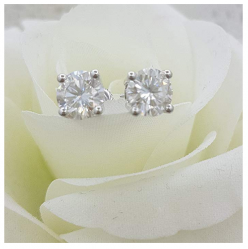 Dazzlingrock Collection 3.00 Carat Moissanite Earrings on Display