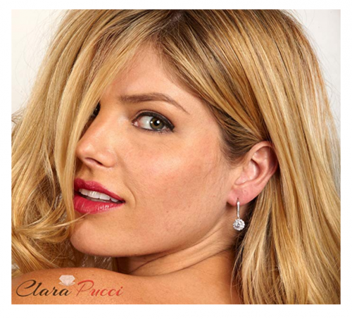 Clara Pucci Solitaire Diamond & Moissanite Earrings on Model