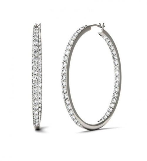 Charles & Colvard Moissanite Slim Hoop Earrings 2