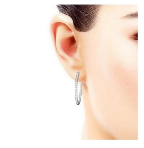 Charles & Colvard Moissanite Slim Hoop Earrings on Model