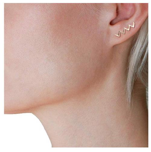 Humble Chic Geometric Ear Climber Jewelry on Model
