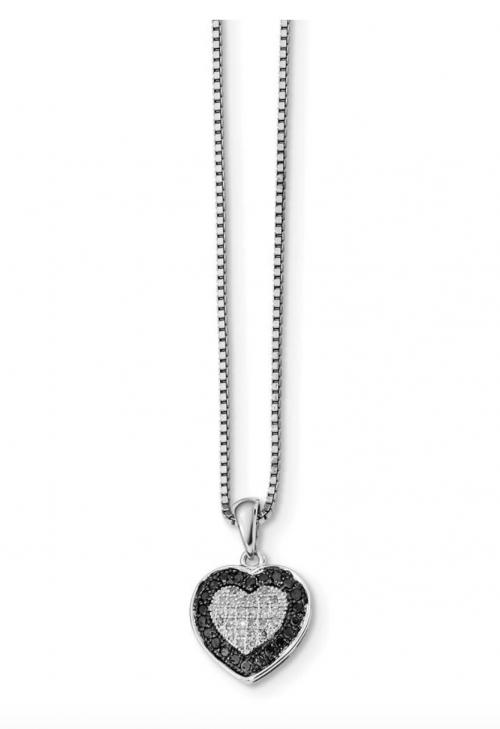 The Black Bow Jewelry Co. White & Black Diamond Heart Necklace