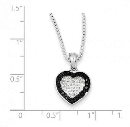 The Black Bow Jewelry Co. White & Black Diamond Heart Necklace Size