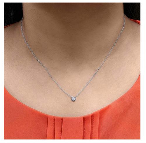 Szul Floating Diamond Necklace on Model