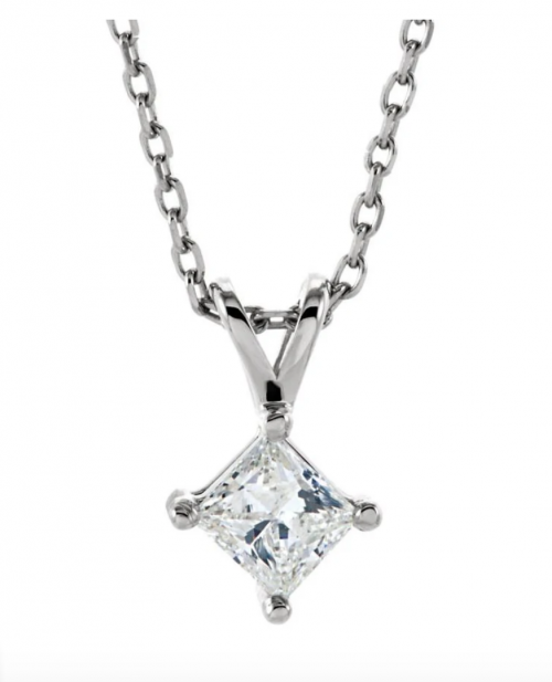 The Black Bow Jewelry Co. Princess Cut Diamond Solitaire Necklace