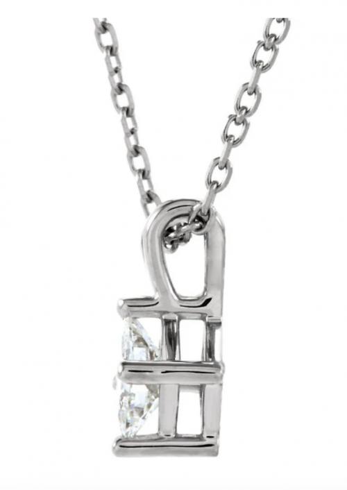 The Black Bow Jewelry Co. Princess Cut Diamond Solitaire Necklace Profile