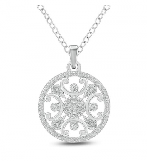 Aurelio Jewelry Sterling Silver Diamond Necklace