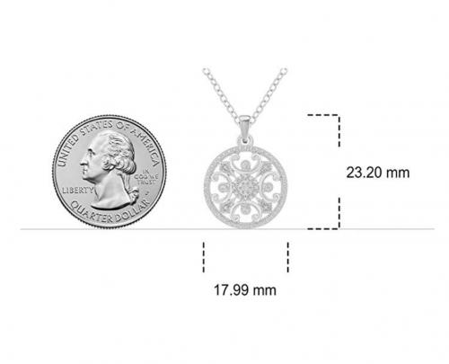 Aurelio Jewelry Sterling Silver Diamond Necklace Size