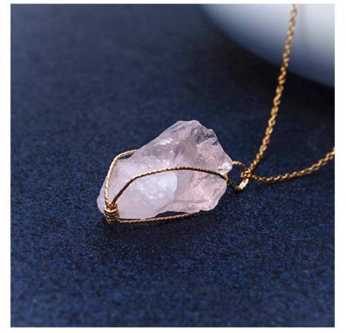 CXD-GEM Wire Wrapped Raw Rose Quartz Necklace Detail