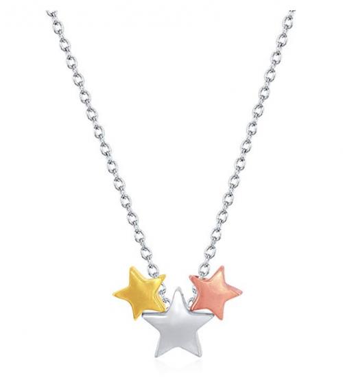 Beaux Bijoux Sterling Silver Tricolor Star Necklace
