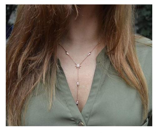 Espere Star Drop Lariat Necklace on Model