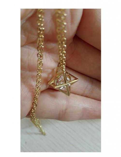 SENFAI 3D Geometric Star Pendant Necklace on Display