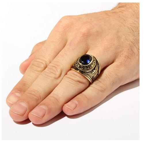 Palm Beach Jewelry Men's Navy Ring on Hand