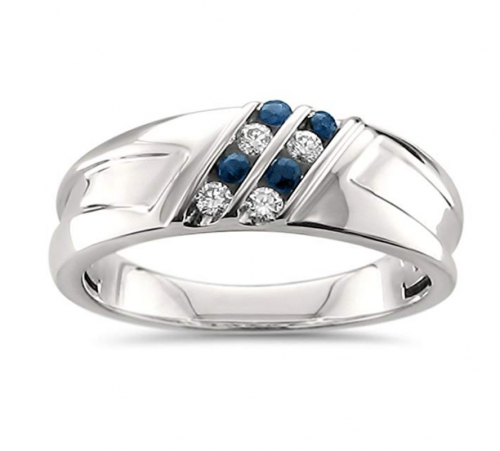 La4ve Diamonds Diamond & Blue Sapphire Ring