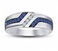 Star Retail Men's Blue Sapphire & White CZ Ring