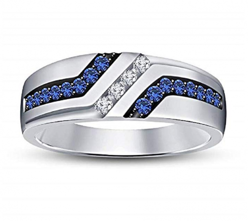 TVS-JEWELS Men's Blue Sapphire & White CZ Ring