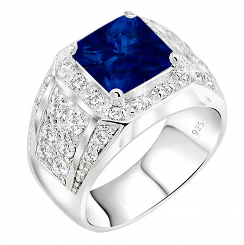 Sterling Manufacturers Princess Cut Sapphire Ring