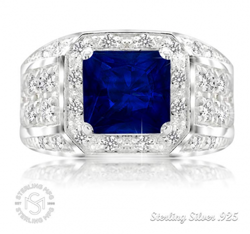 Sterling Manufacturers Princess Cut Sapphire Ring Frontal