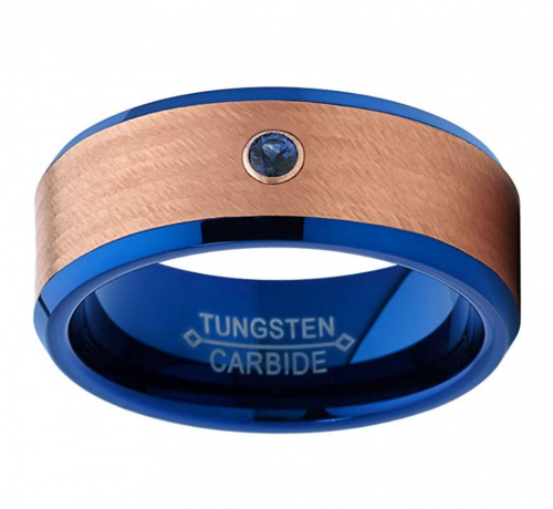 Metal Masters Co. Blue and Rose Tone Tungsten Ring 2
