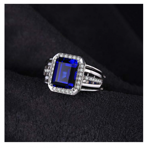 JewelryPalace Created Blue Sapphire Ring on Display