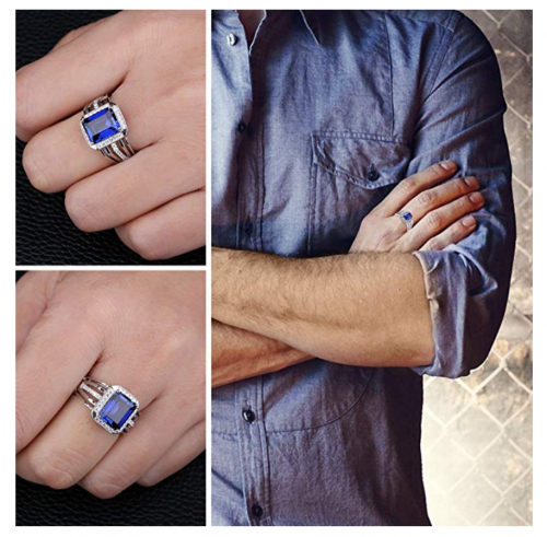 JewelryPalace Created Blue Sapphire Ring on Model