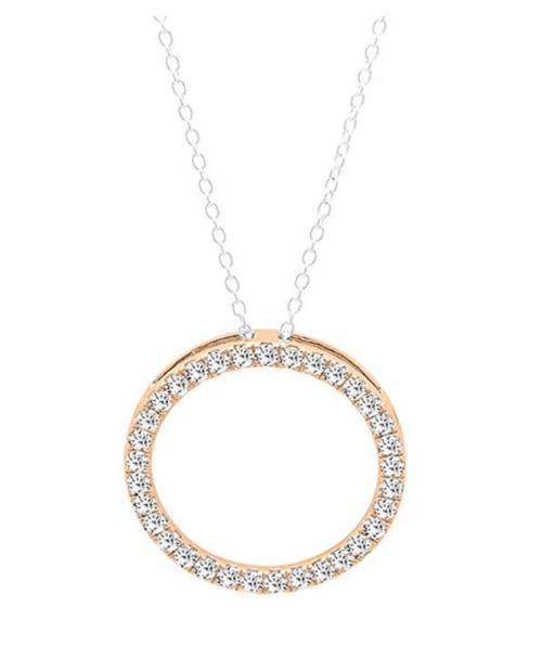 Dazzling Rock Round White Diamond Circle Pendant