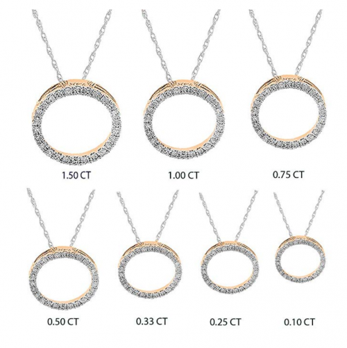 Dazzling Rock Round White Diamond Circle Pendant CT Options 2