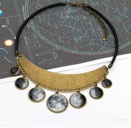 Moon Phase Bib Necklace by Rina Studio Jewelry on Display