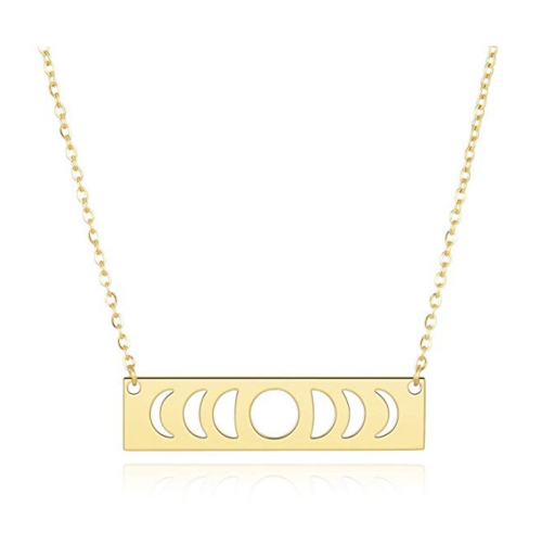 UNGENT THEM Silver Curved Moon Phase Necklace