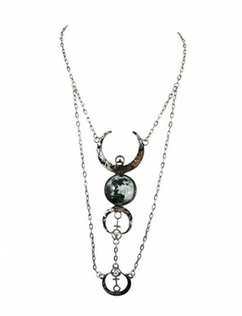 Restyle Gothic Full Moon Pendant Necklace