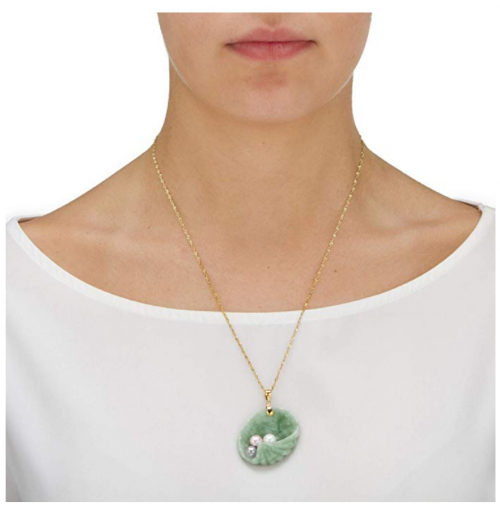Lux Jade and Pearl Shell Pendant on Model