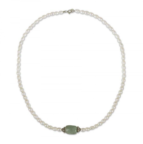 NOVICA Pearl and Jade Necklace