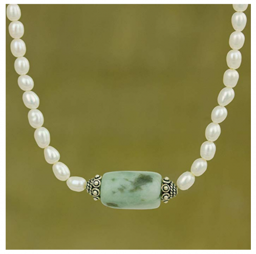 NOVICA Pearl and Jade Necklace Detail