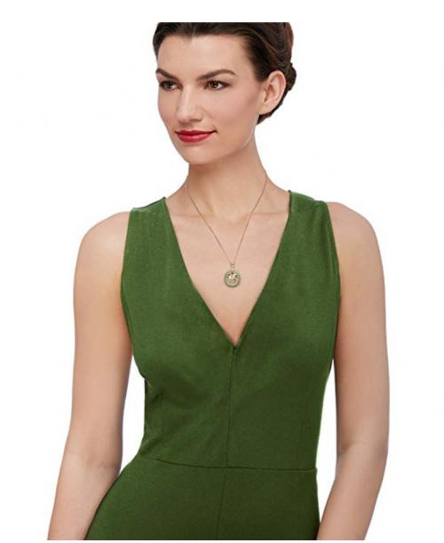 Ross-Simons Green Jadeite Fu Symbol Circle Necklace on Model