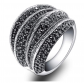 Mytys Black Marcasite Cocktail Ring