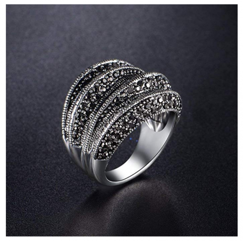 Mytys Black Marcasite Cocktail Ring on Display