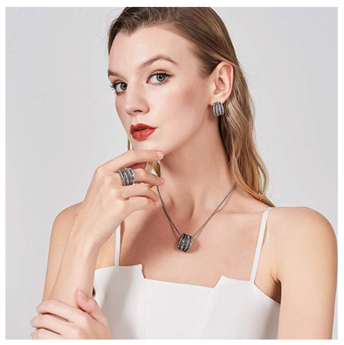 Mytys Black Marcasite Cocktail Ring on Model