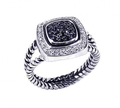 Double Accent Sterling Silver White & Black Ring