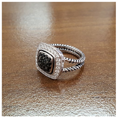 Double Accent Sterling Silver White & Black Ring on Display